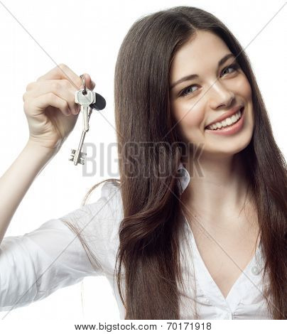 closeup portrait of attractive  caucasian smiling woman brunette isolated on white studio shot lips toothy smile face hair head and shoulders  tooth  businesswoman keys hypothec real estate