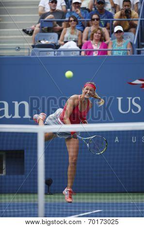 Two times Grand Slam champion Victoria Azarenka serving during quarterfinal match
