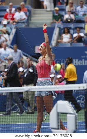 Two times Grand Slam champion Victoria Azarenka serving during quarterfinal match against Ana Ivanov