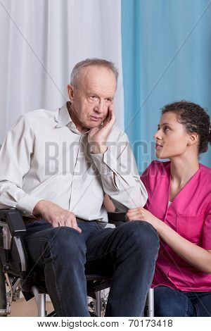 Geriatric Patient On Wheelchair