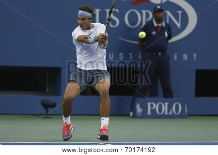 Twelve times Grand Slam champion Rafael Nadal during semifinal match at US Open 2013