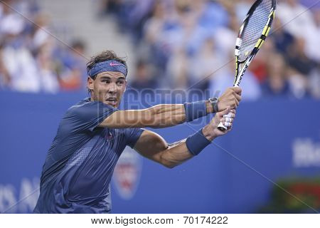 Twelve times Grand Slam champion Rafael Nadal during fourth round match at US Open 2013
