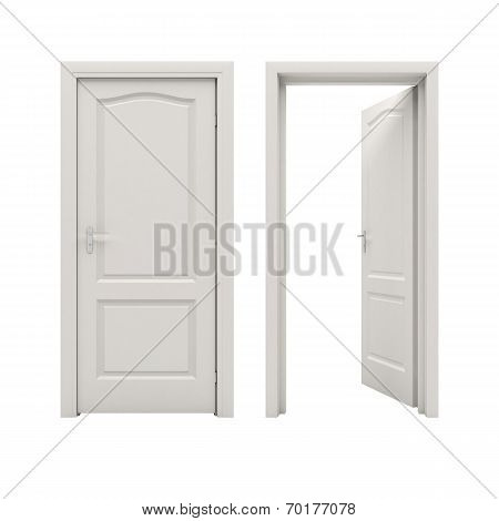 Open white door isolated on a white background