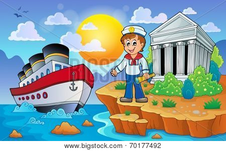 Greek coast with ship and sailor - eps10 vector illustration.