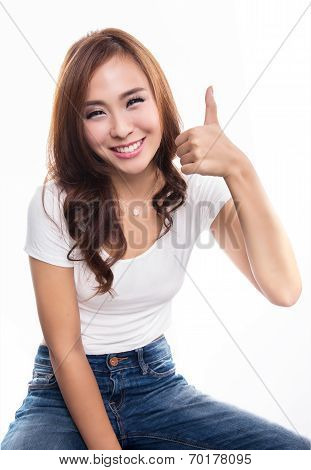Happy Smiling Girl With Thumbs Up Gesture, Isolated On White Background