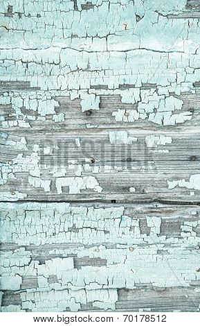 Old Wooden Background With Peeled Colour And Cracks In Mint Green Color.