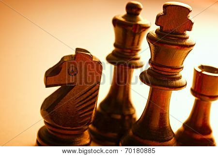 Close Up Standing Wooden Black Chess Pieces