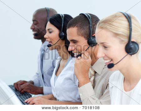 Young Business People Working In A Call Center