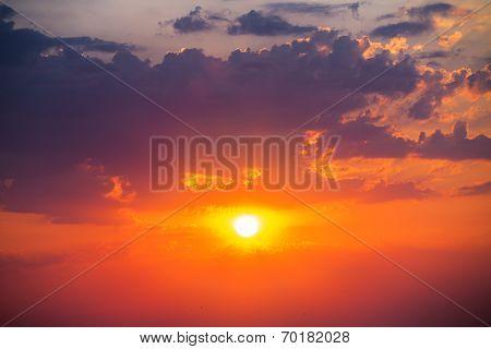Beautiful Cloudscape And Sun, Sunrise Shot