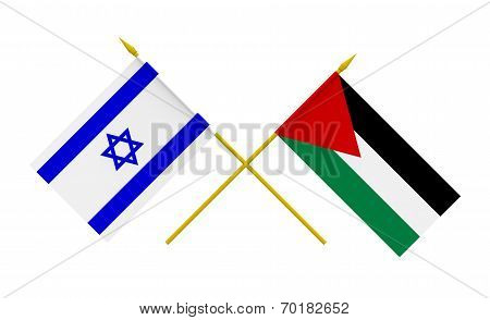 Flags, Israel And Palestine