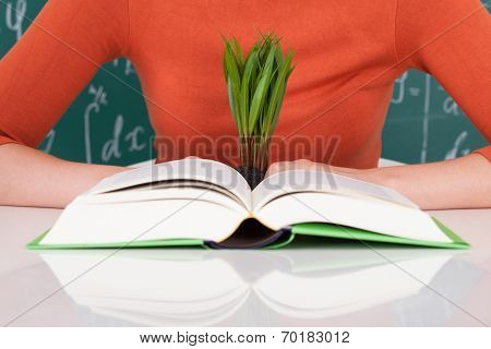Student With Book And Sapling At Desk