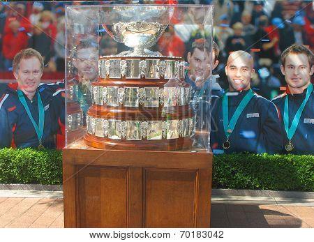 Davis Cup trophy on display at Billie Jean King National Tennis Center