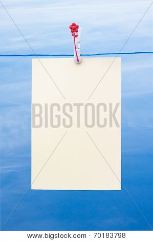 Blank Piece Of Paper On A Washing Line