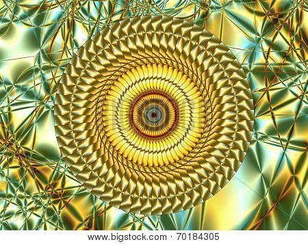 Cosmic Perfection Of Lines Inscribed In Ornamental Circle, Against The Beautiful Fractal Vegetable B