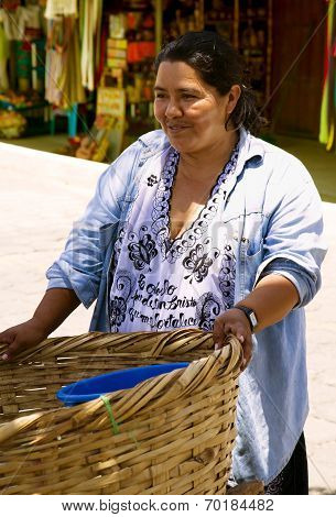 Hispanic woman sells outside