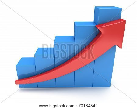 Blue Bar Graph With Red Arrow