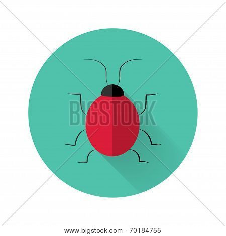 Red Bug Icon Over Green