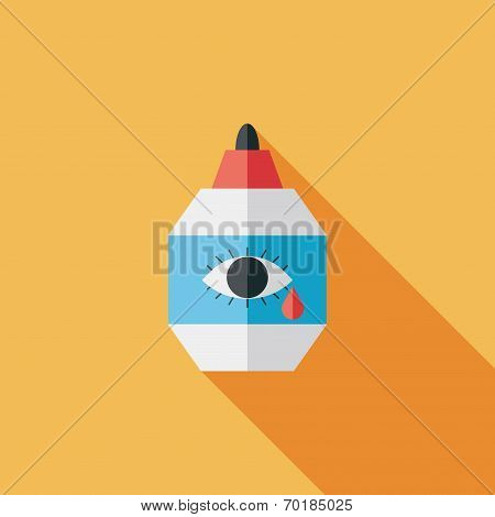 Eye Drop Flat Icon With Long Shadow