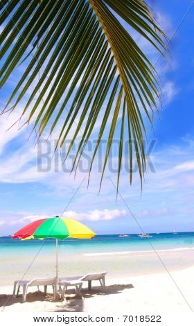 Chairs And Umbrella Under Palms On Sand Beach