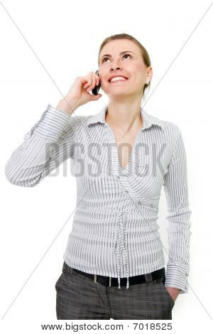 Attractive Woman With Cell Phone Over White