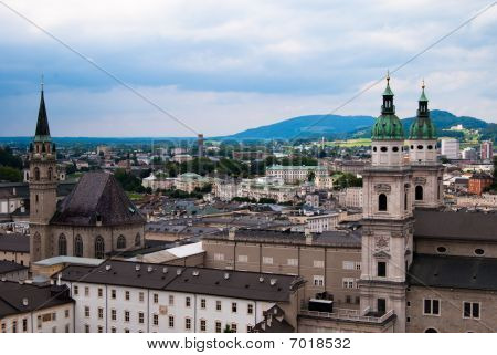 Panoramic view of Salzburg and Alps