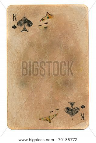 Ancient Used Rubbed Playing Card King Of Spades Paper Background