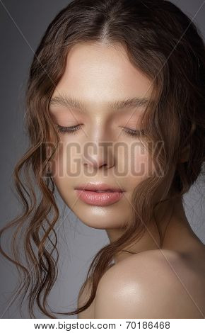 Dreamy Girl With Closed Eyes In Thoughts. Natural Clean Skin