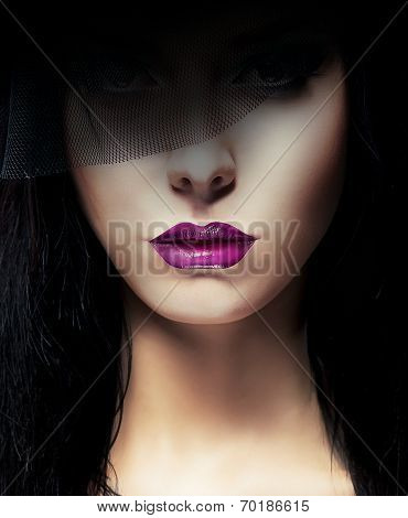 Stylish Aristocratic Woman With Dark Veil