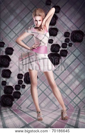 Modern Art. Woman In Checkered Dress Over Abstract Background