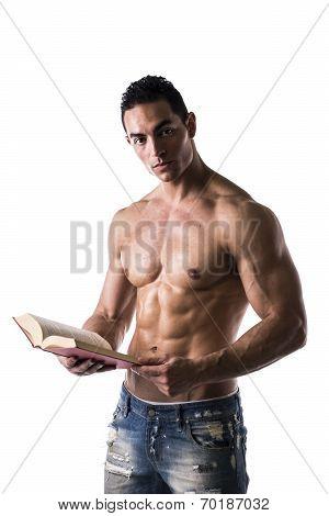 Shirtless Muscular Sexy Man Reading Big Book