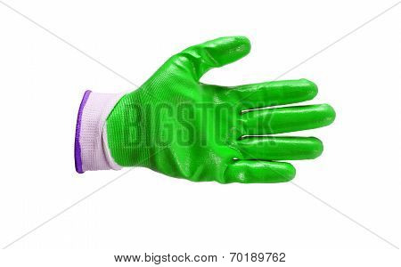 Green Work Gloves Isolated
