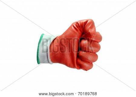 Red Work Gloves Isolated
