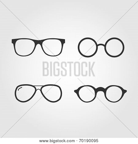 Set of vector glasses, flat design