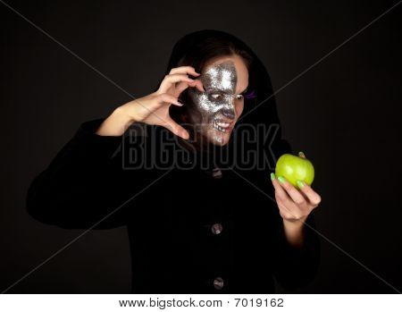 Two-faced Witch With Green Apple Grining