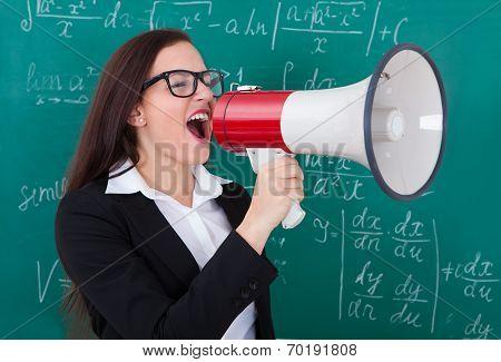 Angry Teacher Shouting Through Megaphone