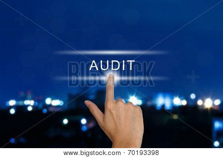 Hand Pushing Audit Button On Touch Screen