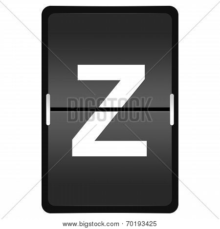 Flipboard Letter Z From A Series Of Airport Timetable