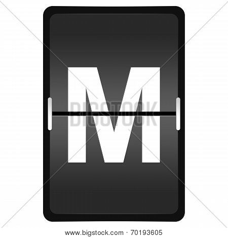 Flipboard Letter M From A Series Of Airport Timetable