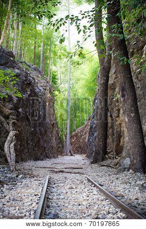 Hellfire Pass Historical Railway In Kanchanaburi, Thailand.