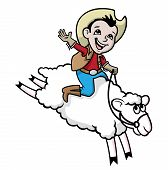 picture of gaucho  - Vector Illustration of a boy riding a sheep - JPG