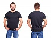 pic of apparel  - Black t shirt on a young man template on white background - JPG