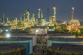 picture of greenpeace  - A oil refinery at dramatic twilight  - JPG