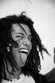 pic of rasta  - rock singer with rasta hair performing live on stage OUT LOUD