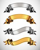 pic of ribbon  - Set of gold and silver vector ribbons for your text - JPG