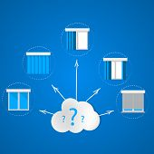 image of louvers  - Set of icons with windows and louvers around the cloud with question marks - JPG