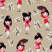 stock photo of geisha  - Seamless cherry blossom geisha girls kids illustration background pattern in vector - JPG