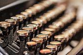 stock photo of typewriter  - Retro vintage typewriter closeup shot office supplies - JPG