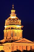 stock photo of capitol building  - The Iowa State Capitol building at night - JPG