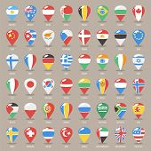 picture of flags world  - Set of Flat Map Pointers With World States Flags - JPG