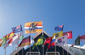 stock photo of holland flag  - orange holland flag in front of several other flags